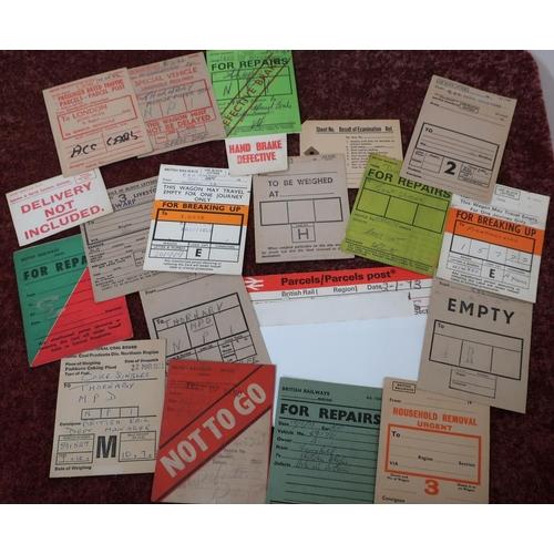 20 - Selection of various BA wagon labels, railway paperwork, etc...