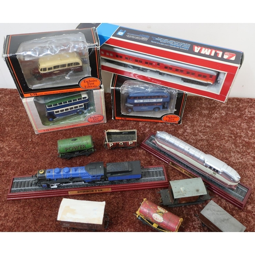 42 - Selection of various die-cast buses, model trains, boxed Lima carriage and rolling stock in one box...