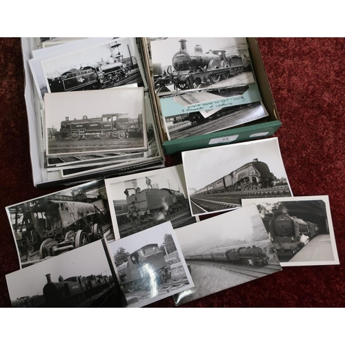 14 - Two boxes containing a large quantity of railway related black & white photographs and photographic ...