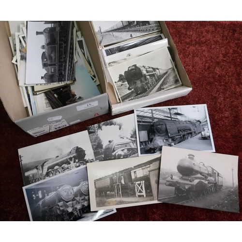 15 - Two boxes containing a large quantity of railway related black & white photographs and photographic ...