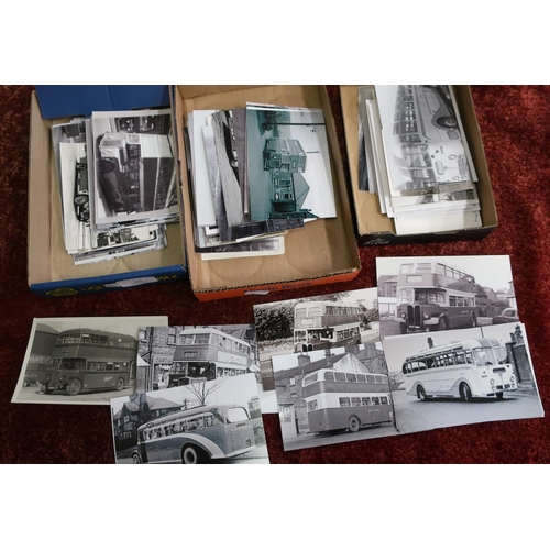 16 - Three boxes of various assorted black & white bus and coach related photographs and photographic pri...