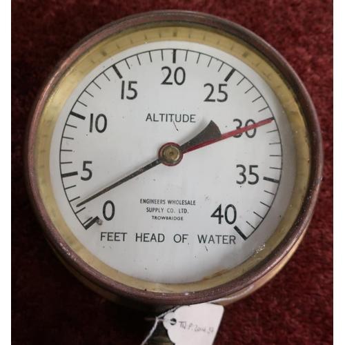 18 - Brass cased altitude feet head of water gauge by Engineers wholesale supply co Ltd, Trowbridge (diam...