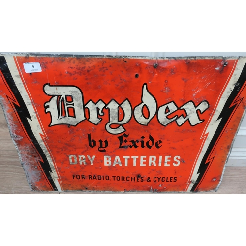 9 - Advertising tin sign for Drydex Dried Batteries (62cm x 43cm)...