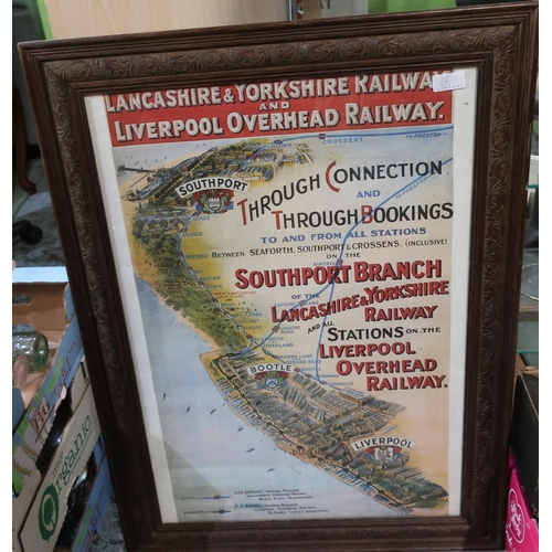 29 - Framed and mounted print of a railway poster for Lancashire and Yorkshire Railway and Liverpool Over...