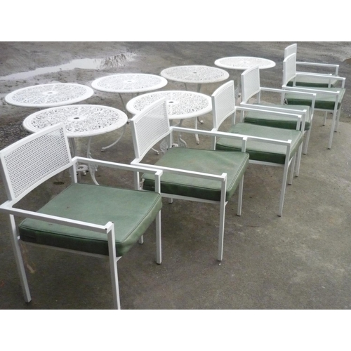 1 - Six outdoor metal chairs with cushions...