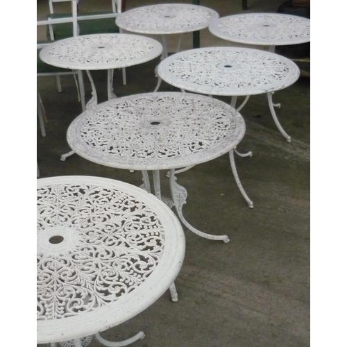 2 - Six metal garden tables...