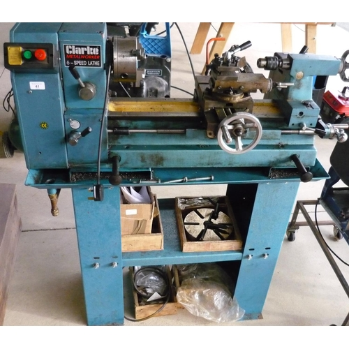 41 - Quality Clark metalworker 6 speed lathe with accessories...