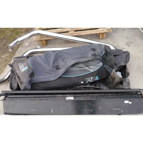 79 - Quantity of car accessories including an Armadillo boot cover, a fix and go foldable top box, two la...