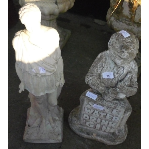 95 - Two garden ornaments, one depicting a Greek god, and another with a gentleman sat with the slogan 'S...