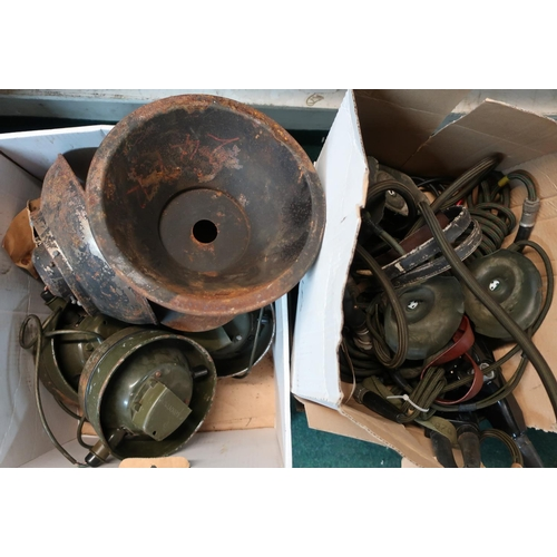 143 - Selection of circa 1950s military tannoy systems, two boxes of various assorted military comms kit i...