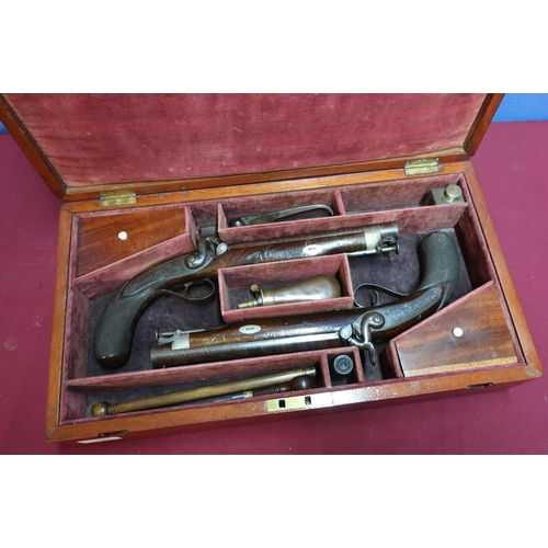 7 - Pair of 16 bore percussion officers belt/dueling pistols by Hollis & Sheath of Birmingham (circa 184...