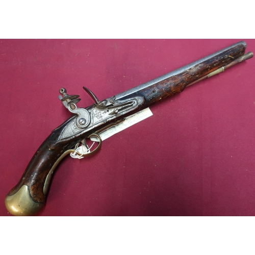 8 - 1796 Pattern Sea Service flintlock pistol .56 cal, with tower markings, the lock with crowned GR, wi...
