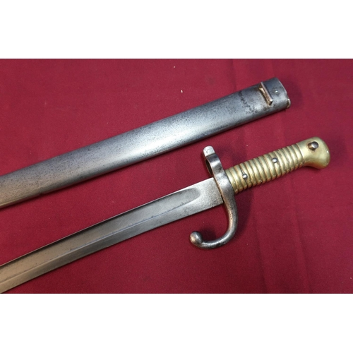 44 - French 1886 patent bayonet complete with steel scabbard No. U11497...
