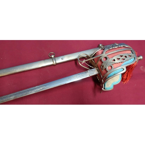 45 - Quality copy of a Victorian Scottish broadsword with engraved crowned VR to the plated blade, the ba...