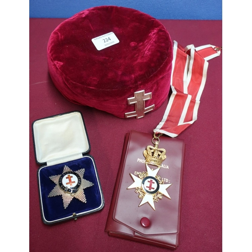 138 - Masonic interest including a red velvet cap with Jesuit Cross cap badge, associated silver and ename...