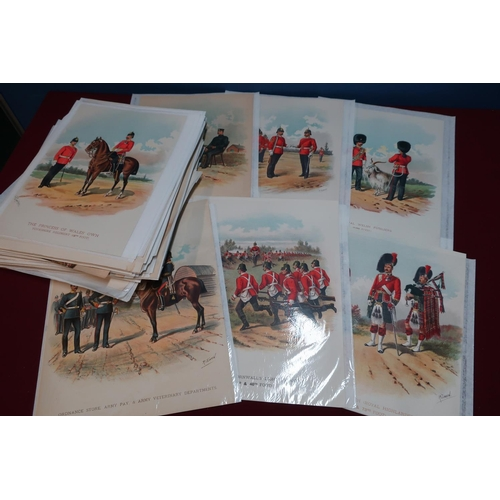 150 - Large quantity of unframed military card prints mostly by R. Simkin relating to various regiments, v...