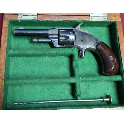1 - Mahogany cased Smiths .32 rimfire revolver with part fitted case, retaining much of original finish ...