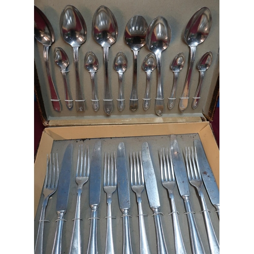 100 - Original boxed set of Luftwaffe officers aluminium cutlery, six place setting (one replacement unmar...