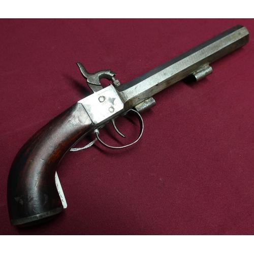 11 - Large bore percussion cap belt pistol with 5 1/2 inch octagonal barrel...