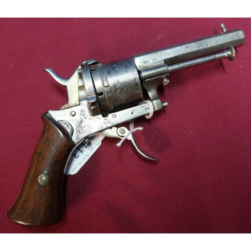 113 - Belgium 7mm pinfire 6 shot revolver with 3 inch octagonal barrel, two piece wooden grips and folding...