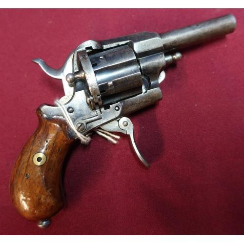 114 - Belgium pinfire 6 shot revolver, 2 1/2 inch barrel, Belgium proof marks, folding trigger and two pie...