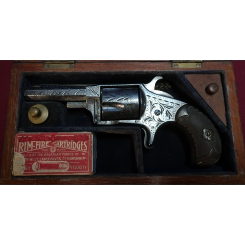 116 - Small mahogany cased Hopkins & Allen Ranger No.2 .32 rimfire revolver, complete with cleaning rod, o...