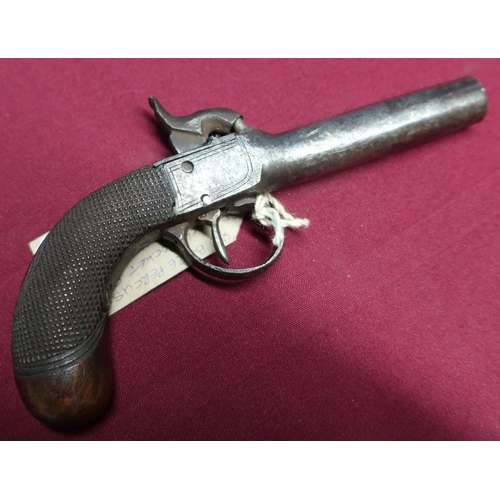12 - Percussion cap converted from flintlock pocket pistol with 2 3/4 inch barrel and checkered grip...