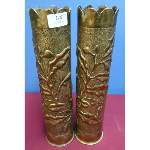 126 - Pair of WWI trench art shell casings, decorated with oak leaves and acorns (height 35cm)...