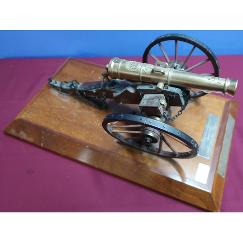 17 - Presentation scale model of a Georgian field cannon, with cast brass 9 3/4 inch barrel with crowned ...