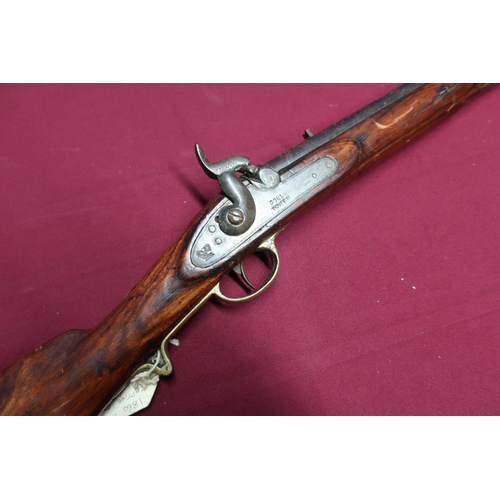19 - Percussion cap carbine with 20 inch barrel stamped 700 158 with fixed fore and rear sights and stirr...