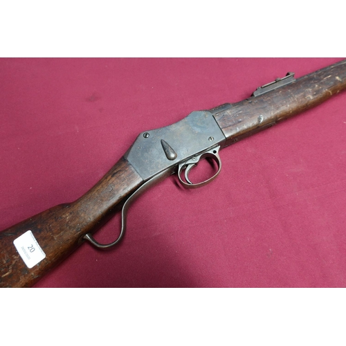 20 - Martini Henry mark 3 carbine with 20 1/4 inch (cut) barrel with adjustable rear ladder sights, vario...