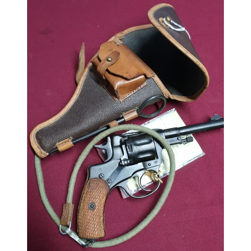 22 - Russian M1895 Magant revolver c.WWII 1940 issue with various stamped markings, complete with holster...