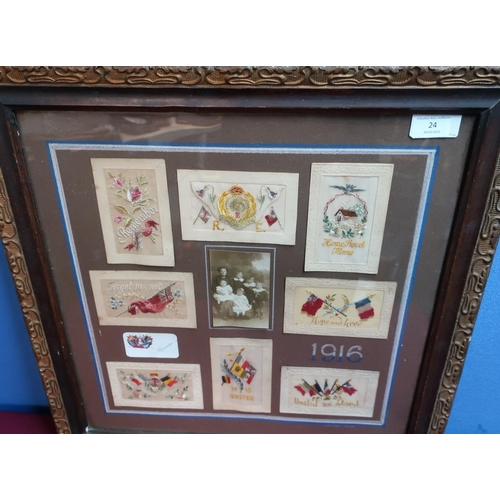 24 - Framed and mounted display of WWI embroidered postcards including 'United We Stand', '1915 United', ...
