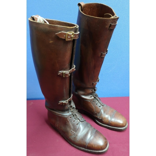 25 - Pair of early to mid 20th C tanned leather buckle and lace boots...