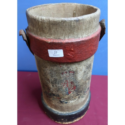 27 - Woven powder carrier with leather swing carrying strap...