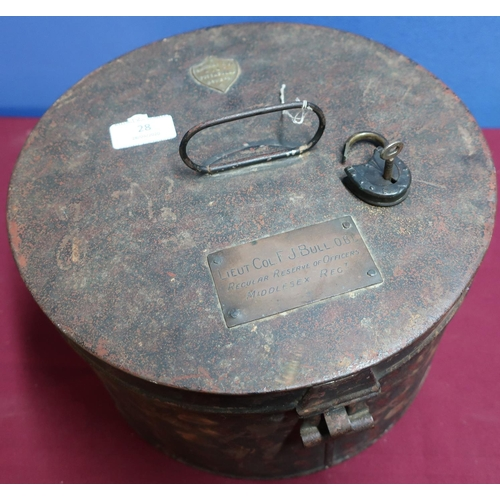 28 - Japped metal Hawkes & Co 14 Piccadilly London military hat box with brass plaque for Lieut.Col. F.J....