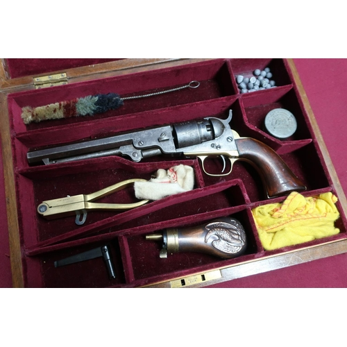 3 - Mahogany cased Colt pocket navy percussion cap .36 single action revolver with traces of New York ad...