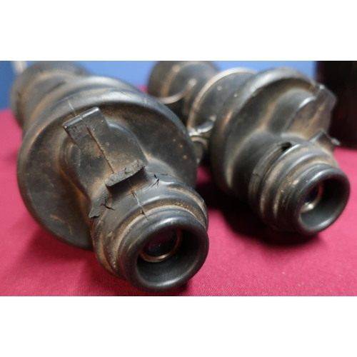 32 - Cased pair of c.WWII kriegsmarine binoculars containing various rubber mounts, marked 7x50 BEH, seri...