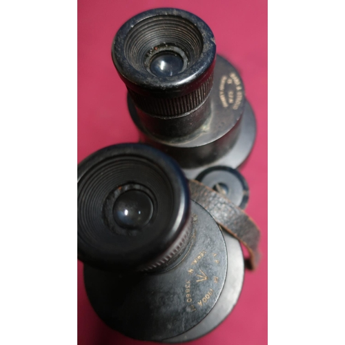 33 - Pair of Barr & Stroud military issue binoculars, no.1900A with broad arrow marks, leather eye covers...