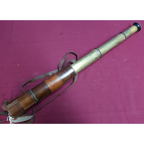 36 - Tan leather bound three drawer telescope marked Aitchison London, the field no.5380, complete with l...