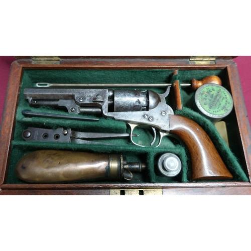 4 - Cased Colt .31 pocket revolver the 3 1/4 inch octagonal barrel engraved address Col.Colt London, the...
