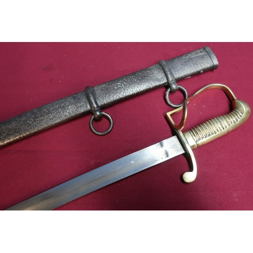 43 - Mid 19th C German cavalry troopers sword, with rare solid brass grip knuckle bow and guard complete ...