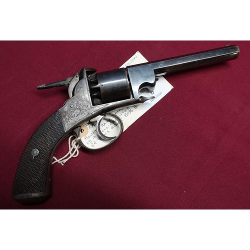 6 - Webley Bentley open frame percussion cap revolver with extended thumb cocking spur, 5 inch octagonal...