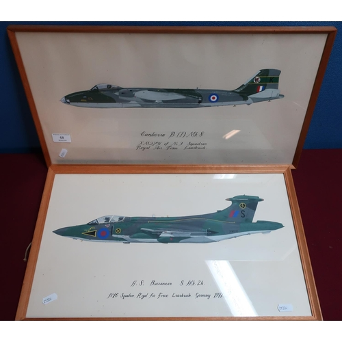 68 - Pair of framed paintings of military aircraft including a RAF Canberra and a RAF Buccaneer (2)...