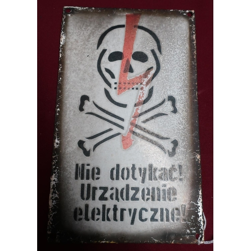 75 - Polish enamel warning sign (15cm x 25cm)...