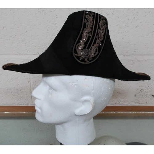 85 - Victorian general officers cocked hat with white bullion detail and Victorian crowned button...