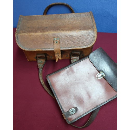 181 - Military map case/dispatch riders case and a reinforced leather military style carry case (2)...