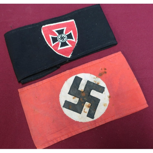 184 - German Third Reich swastika armband and another German style armband (possibly later in date) (2)...