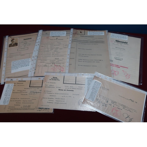 199 - Collection of German WWII paperwork relating to NSDAP, personal documents from the file of Bruno Tan...