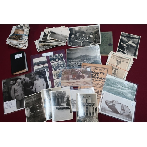 200 - Collection of military ephemera including soldiers pocket bible, various photographs, postcards, etc...